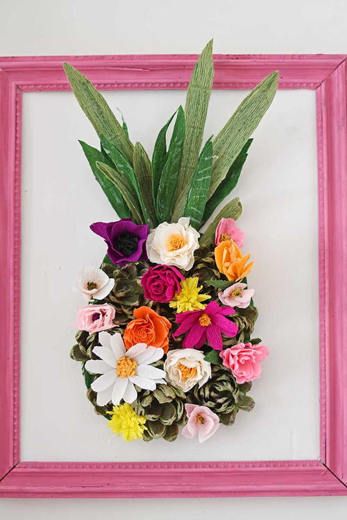 Pineapple Paper Flower Wall Decoration