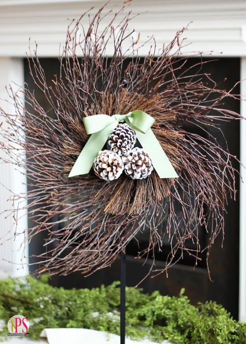 Twig and Pine Cone DIY Wreath