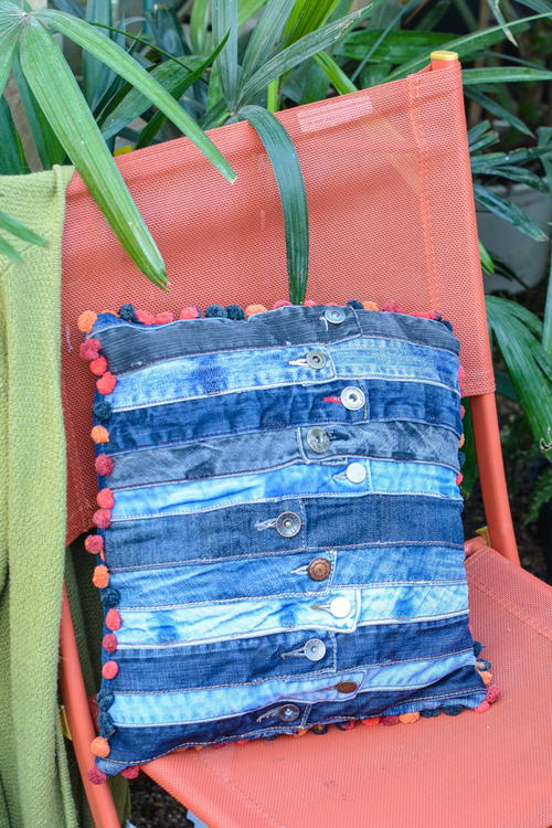 DIY Denim Waistband Cushion