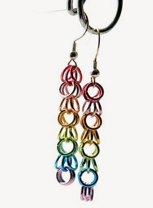 Simple Rainbow Chain Earrings
