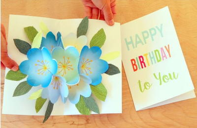 Printable Pop Up Bouquet Birthday Card