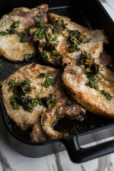 Garlic Herb Brown Sugar Pork Chops
