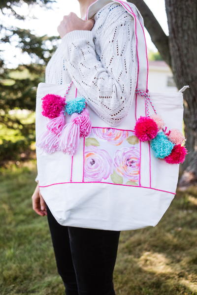 DIY Fashion Tote with Ombre Tassels and Pom Poms
