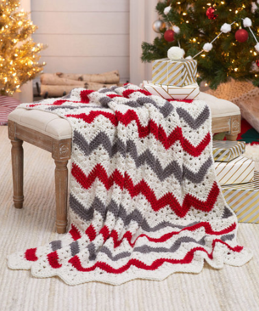 Holiday Ripple Throw Crochet Pattern
