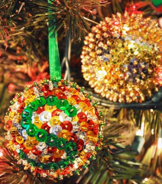 Simply Sequined DIY Christmas Ornaments