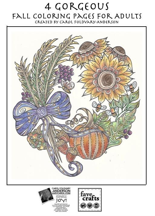 4 Gorgeous Fall Coloring Pages for Adults (PDF) | FaveCrafts.com