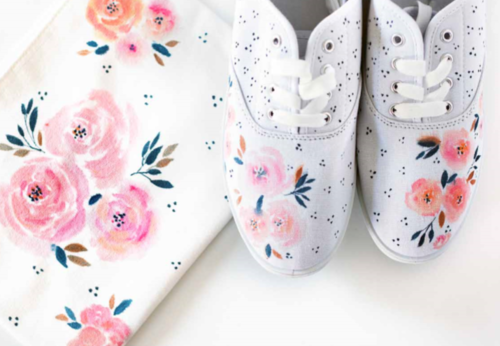 Watercolor Effect Canvas Shoes & Pouch