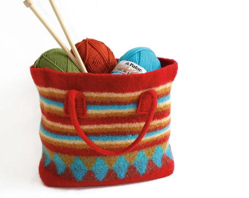 Colorful Felted Bag Knitting Pattern Allfreeknitting