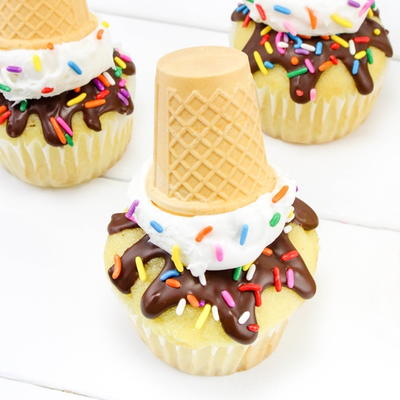 Melting Ice Cream Cone Cupcakes