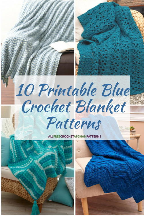 10 Printable Blue Crochet Blanket Patterns