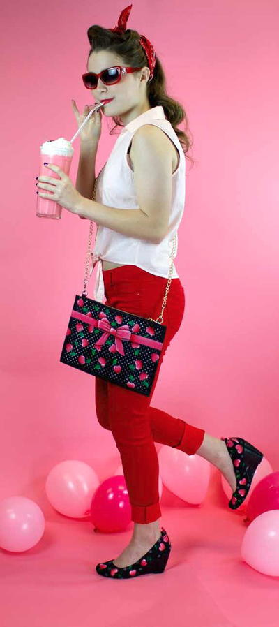 Sweetheart Cherries Heels & Purse