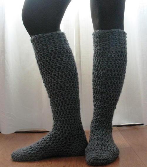Chunky Knee High Socks Allfreecrochet