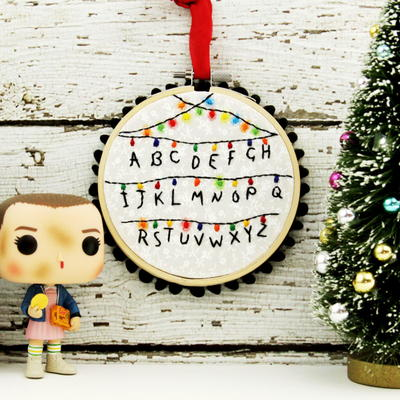 stranger things diy embroidered ornament - Stranger Things Christmas Decorations