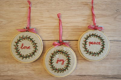 Vintage Christmas Wreath Beaded & Embroidered Ornaments ...