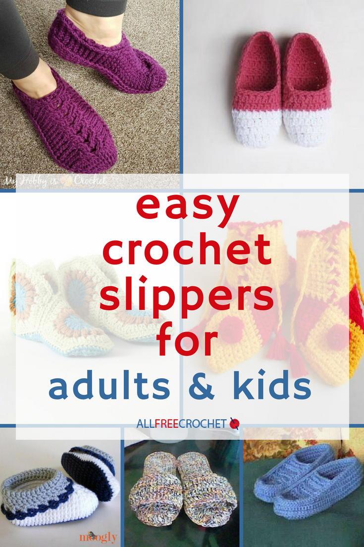 49 Easy Crochet Slippers For Adults And Kids Allfreecrochet