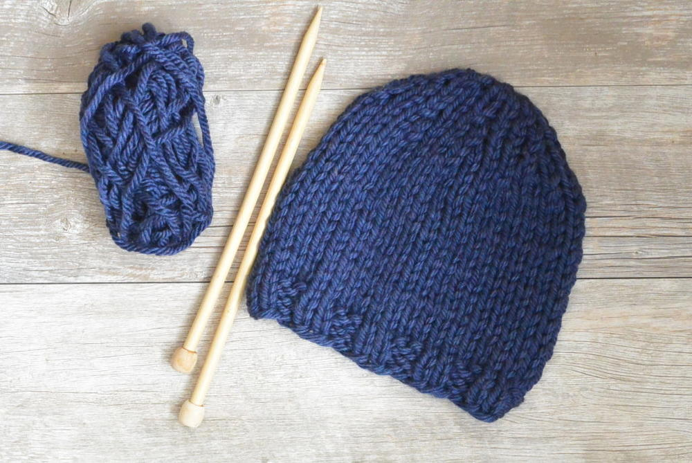 Easy Blues Beginner Chunky Knit Hat Allfreeknitting