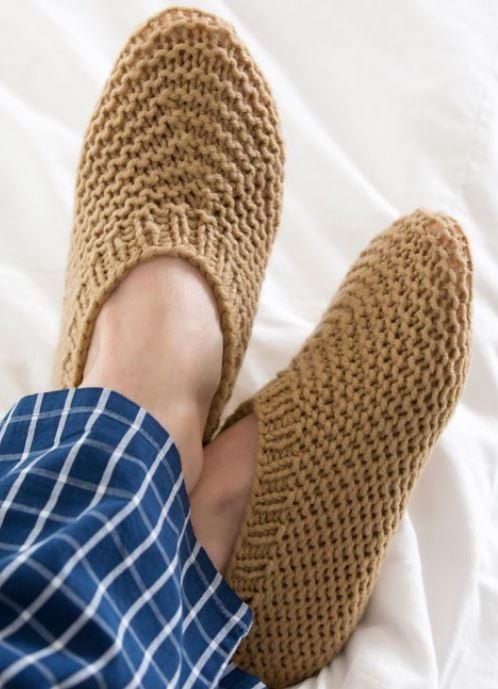 Knitted House Slippers For Him Allfreeknitting