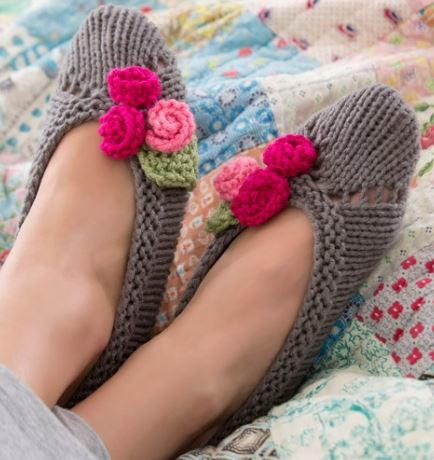 Feminine Knit Slipper Pattern Allfreeknitting