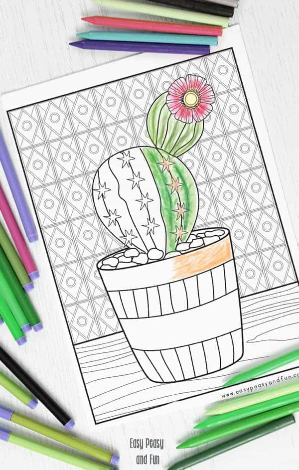 Cutest Cactus Coloring Page