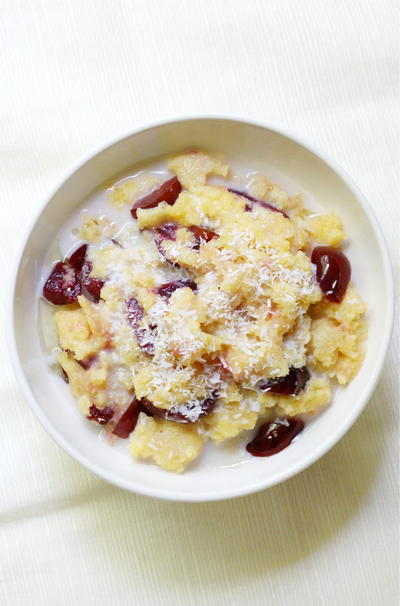 Sweet Cherry Coconut Breakfast Polenta