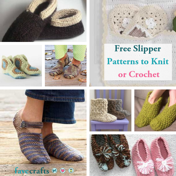 17 Free Slipper Patterns to Knit or Crochet | FaveCrafts.com
