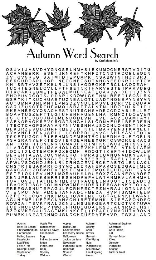 Autumn Word Search Printable