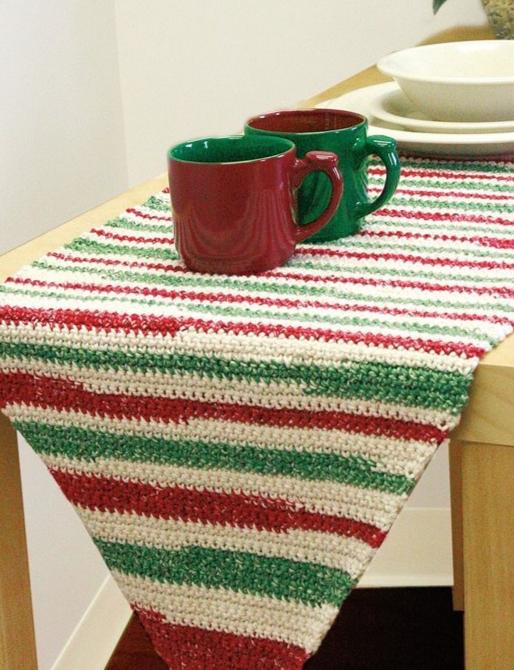 Stripe Table Runner Crochet Pattern FaveCrafts Delectable Crochet Table Runner Patterns