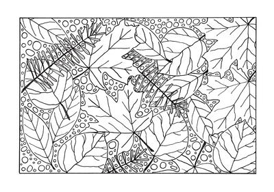 Medley of Fall Leaves Adult Coloring Page