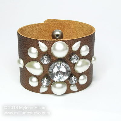 Bejewelled Leather Cuff