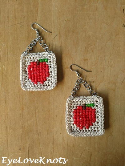 Cross Stitched Apple Earrings