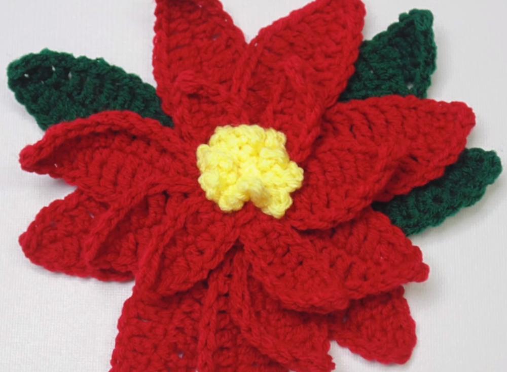 How To Crochet A Poinsettia Video Tutorial Allfreecrochet