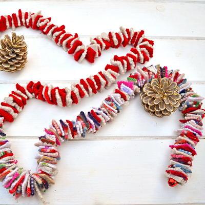 upcycled felt scraps christmas garland - Felt Christmas Garland