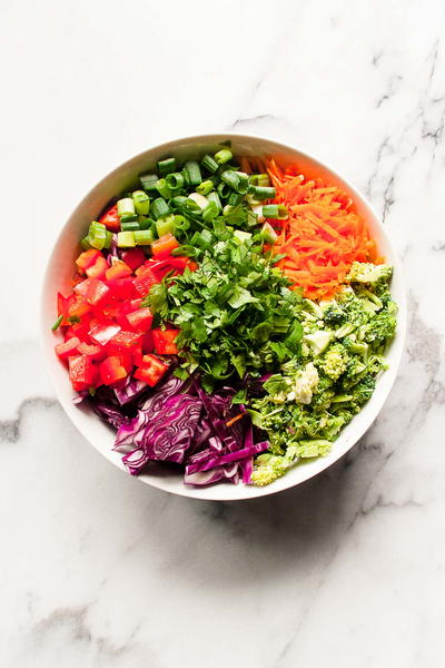 Chopped Thai Broccoli Salad with Creamy Cashew Dressing