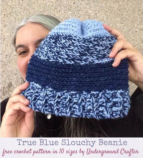 True Blue Slouchy Beanie Allfreecrochet