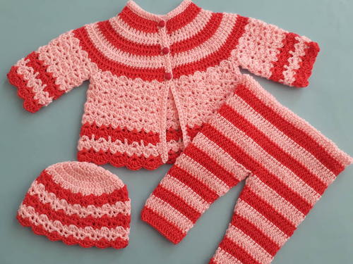 Crochet Round Neck Baby Jacket Sweater