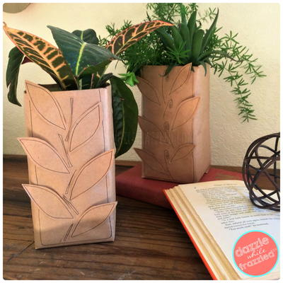 DIY Fall Leaf Vase from Recycled Milk Carton