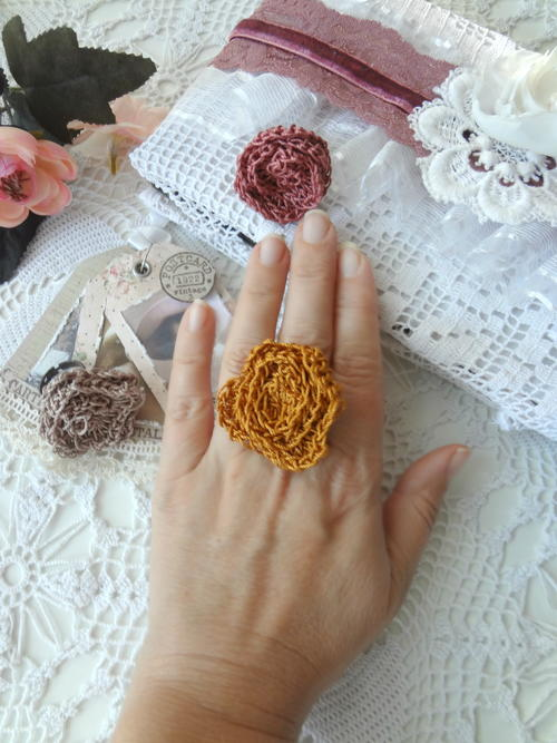 Crochet Rose Ring