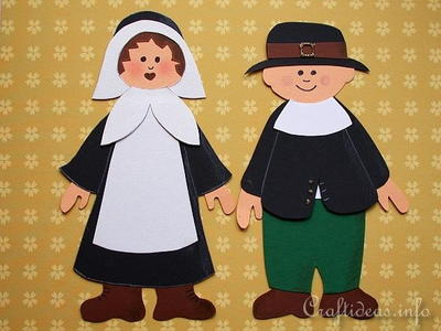Paper Thanksgiving Pilgrim Couple