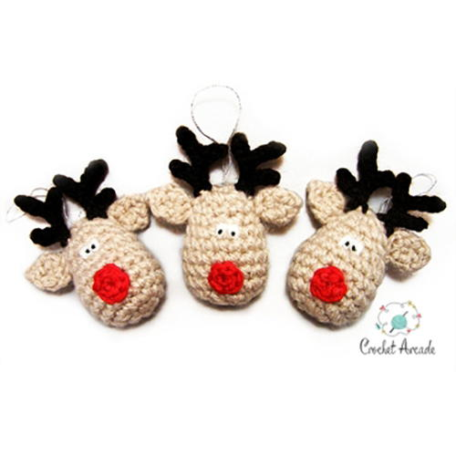 Reindeer Christmas Ornament Free Crochet Pattern