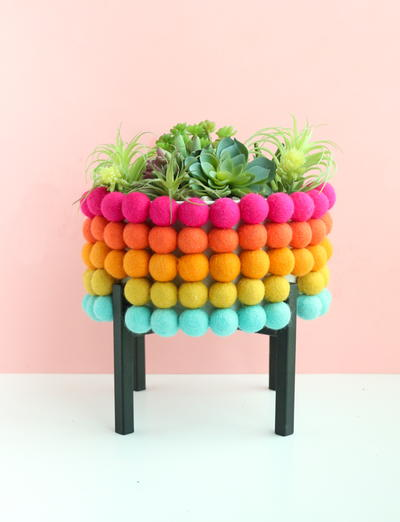 DIY Rainbow Pom Pom Planter