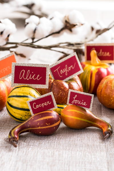 Easy Thrifty Gourd Place Settings for Thanksgiving