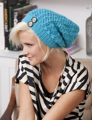 Turquoise Slouchie Beanie with Buttons