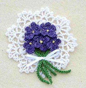 Crocheted Violets Pin