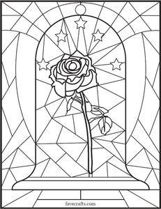 Stained Glass Rose Coloring Page