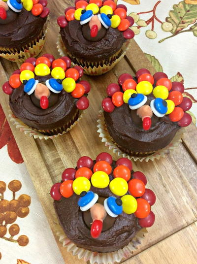 Dark Chocolate Sour Cream Turkey Cupcakes