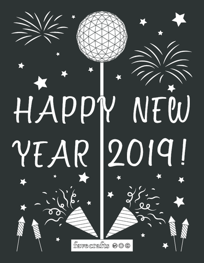 Happy New Year 2019 Coloring Page
