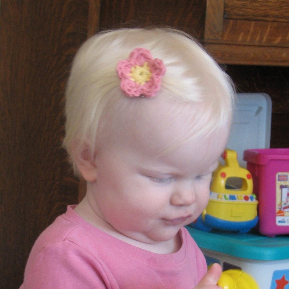 Flower Hair Clip Or Barrette Free Crochet Pattern Allfreecrochet