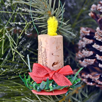 Wine Cork Candle Christmas Ornaments