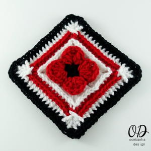 Lest We Forget Poppy Afghan Square